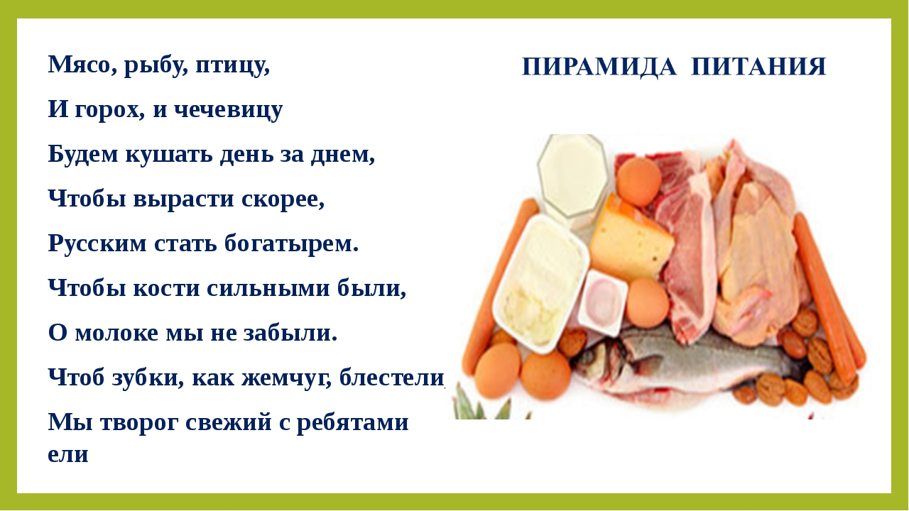 Мясо, рыбу, птицу, И горох, и чечевицу Будем кушать день за днем, Чтобы вырас...