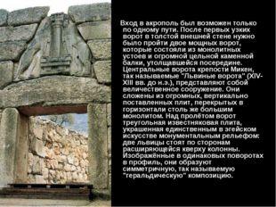 Вход в акрополь был возможен только по одному пути. После первых узких ворот