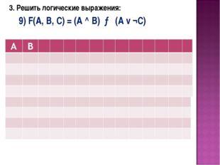 3. Решить логические выражения: 9) F(A, B, C) = (A ^ B) → (A v ¬C)