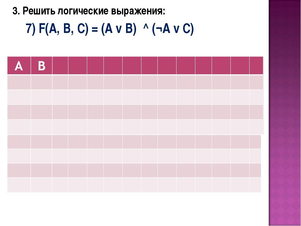 3. Решить логические выражения: 7) F(A, B, C) = (A v B) ^ (¬A v C)