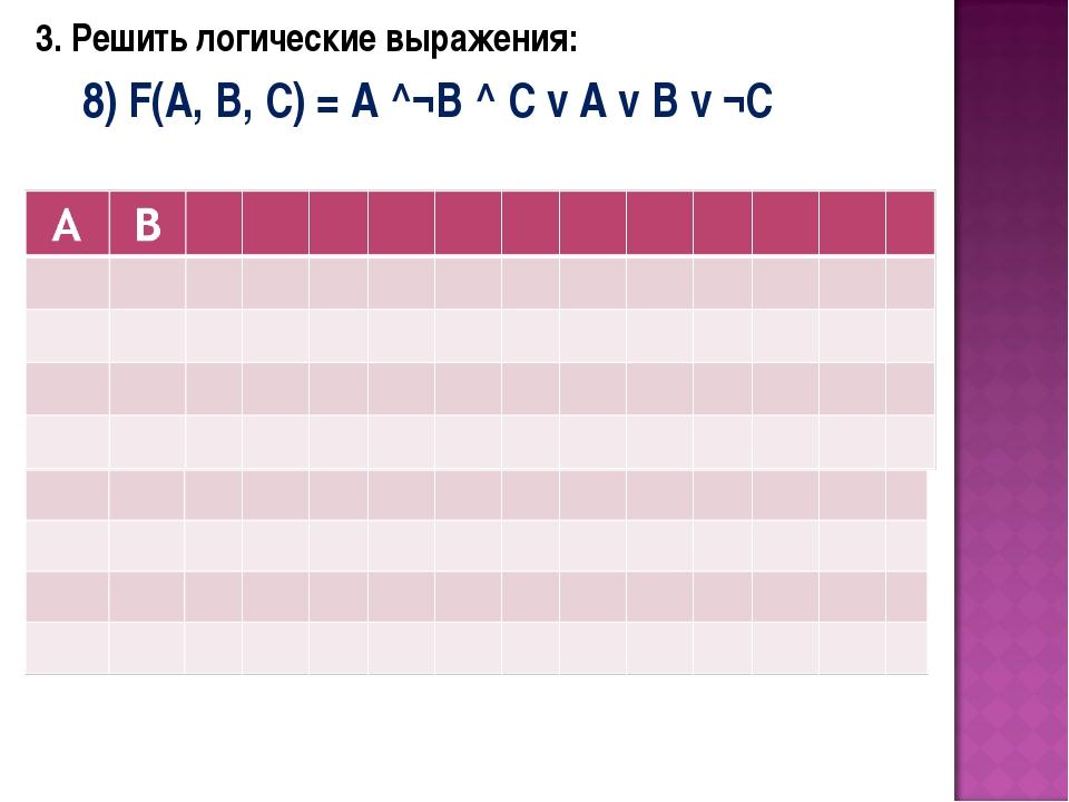 3. Решить логические выражения: 8) F(A, B, C) = A ^¬B ^ C v A v B v ¬C