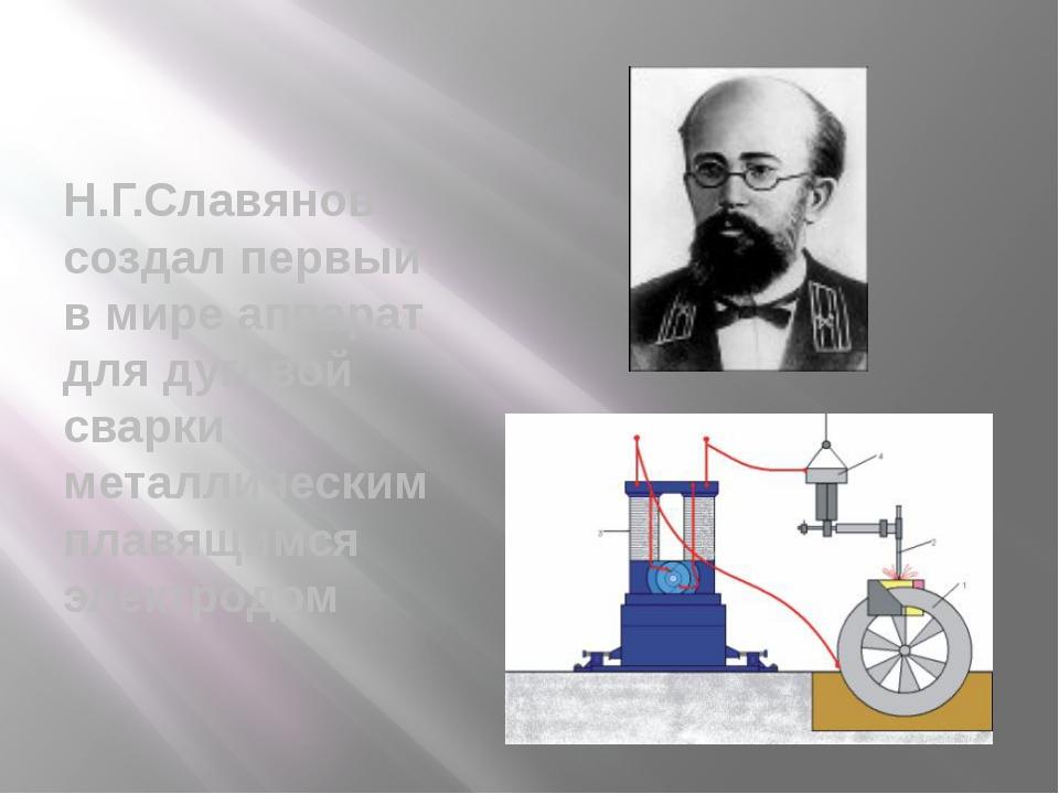 Н.Г.Славянов создал первый в мире аппарат для дуговой сварки металлическим п...