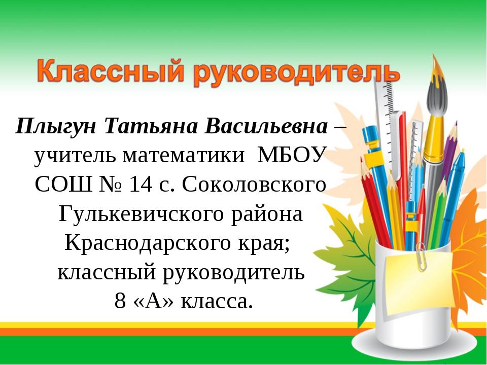 Плыгун Татьяна Васильевна – учитель математики МБОУ СОШ № 14 с. Соколовского...