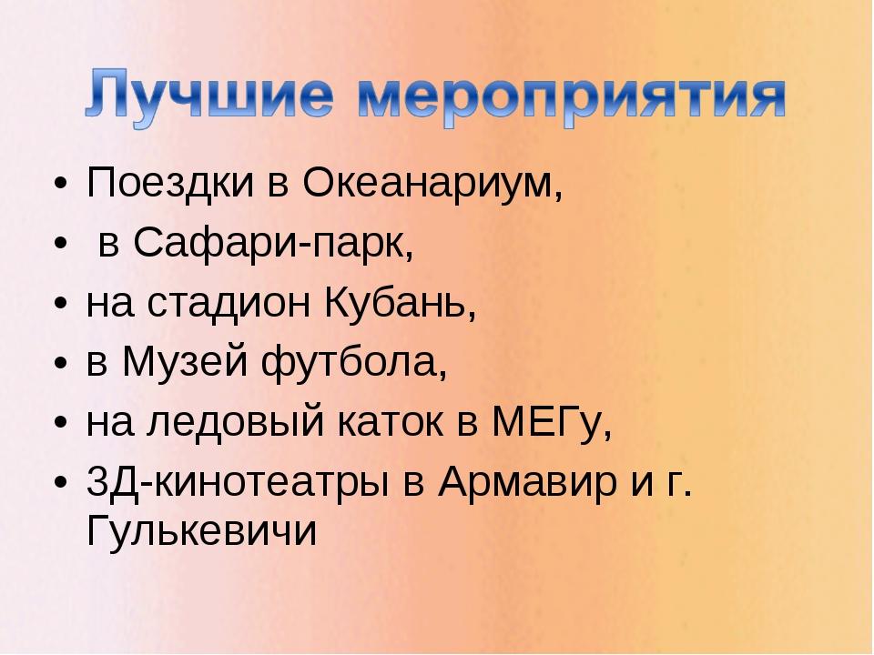 Поездки в Океанариум, в Сафари-парк, на стадион Кубань, в Музей футбола, на л...