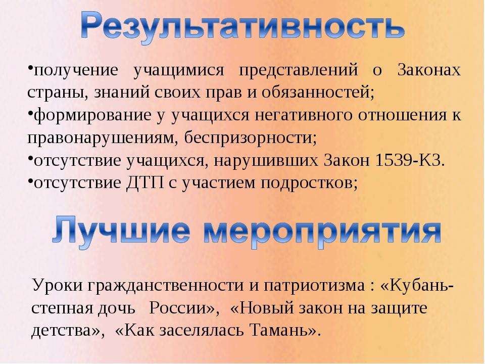 Уроки гражданственности и патриотизма : «Кубань- степная дочь России», «Новый...