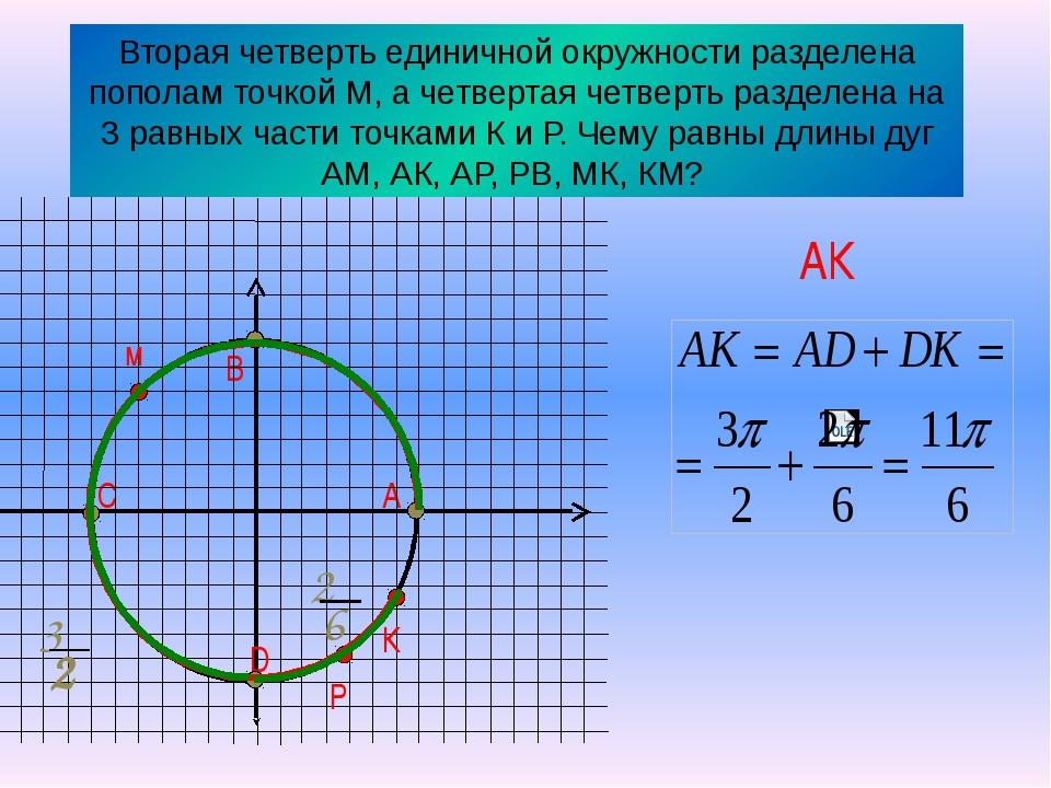 Вторая четверть единичной окружности разделена пополам точкой М, а четвертая...
