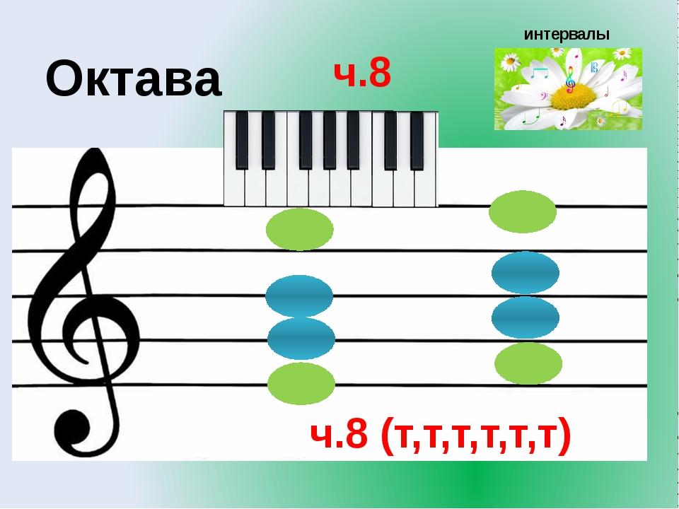 интервалы Октава ч.8 ч.8 (т,т,т,т,т,т)