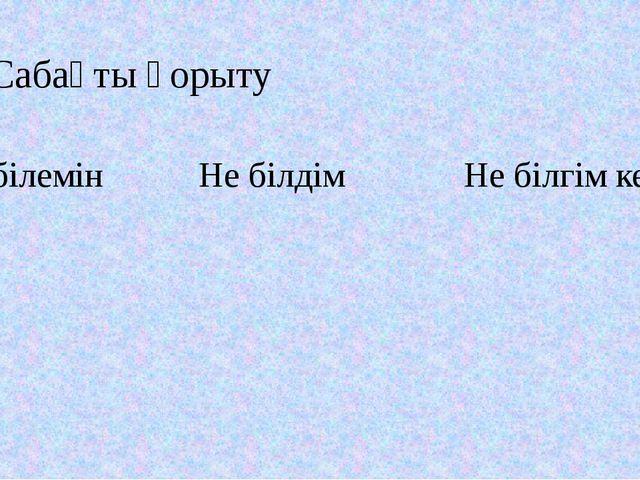 6.Сабақты қорыту  Не білемін Не білдім Не білгім келеді