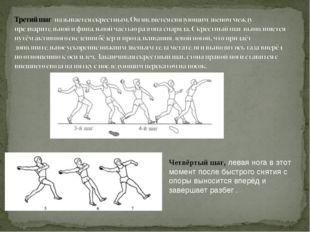 Четвёртый шаг, левая нога в этот момент после быстрого снятия с опоры выносит