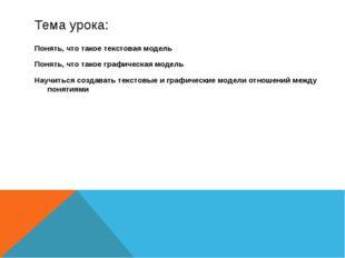 Тема урока: Понять, что такое текстовая модель Понять, что такое графическая
