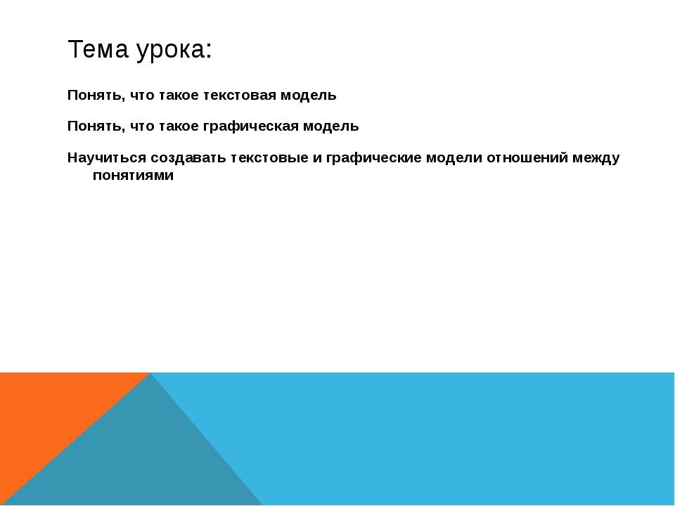 Тема урока: Понять, что такое текстовая модель Понять, что такое графическая...