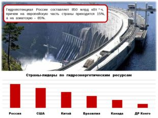 Гидропотенциал России составляет 850 млрд кВт * ч, причем на европейскую част