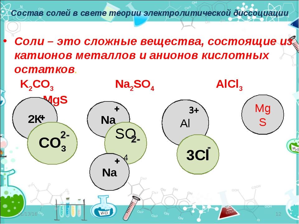 Состав солей в свете теории электролитической диссоциации Соли – это сложные...