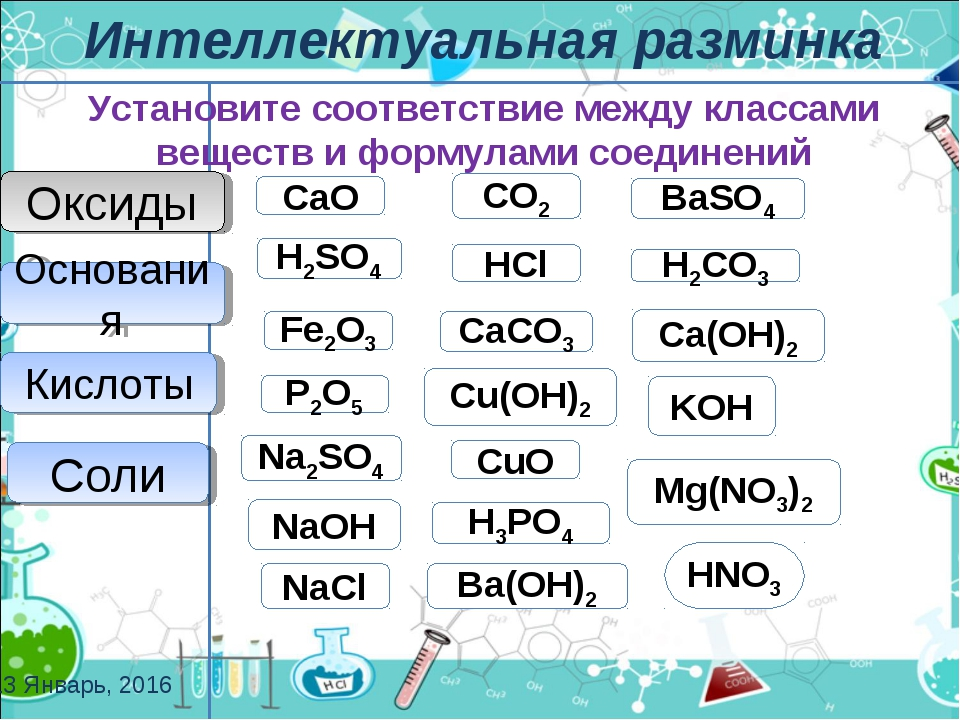 NaCl CaCO3 BaSO4 Mg(NO3)2 Na2SO4 Соли Оксиды СaО P2О5 Fe2О3 CО2 CuО Основания...