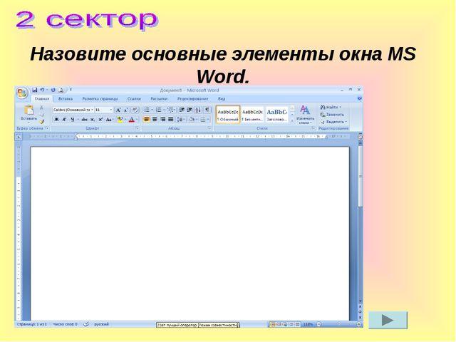 Назовите основные элементы окна MS Word.