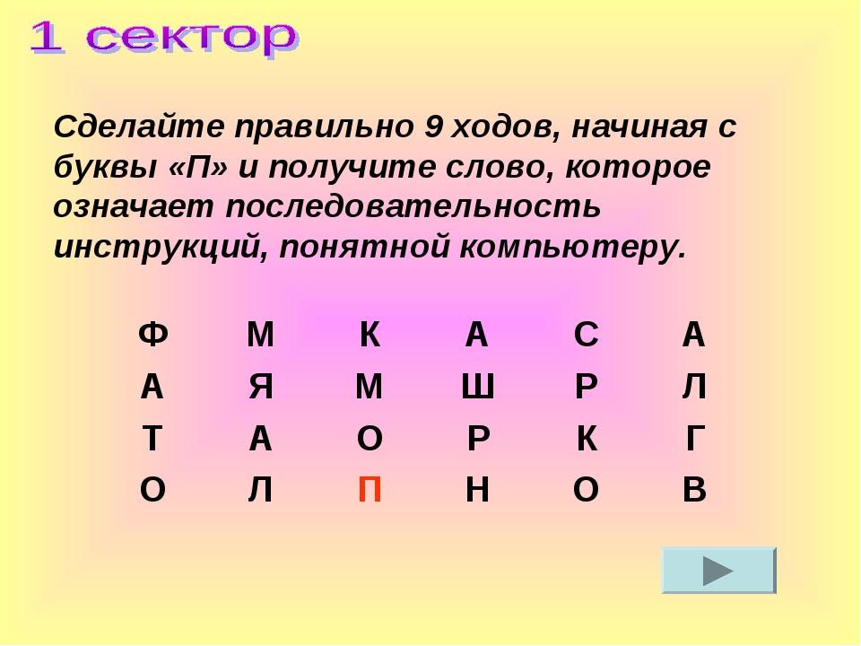 Сделайте правильно 9 ходов, начиная с буквы «П» и получите слово, которое оз...