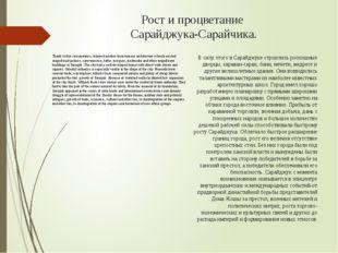 Рост и процветание Сарайджука-Сарайчика. Thank to this circumstance, talented
