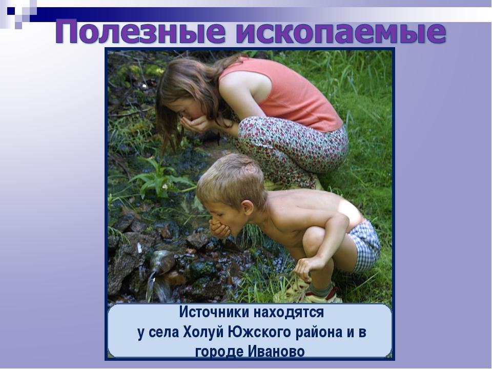 Источники находятся у села Холуй Южского района и в городе Иваново