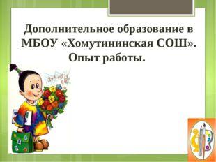 Дополнительное образование в МБОУ «Хомутининская СОШ». Опыт работы.
