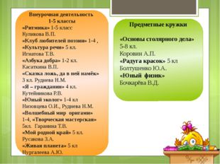 Внеурочная деятельность 1-5 классы «Ритмика» 1-5 класс Куликова В.П. «Клуб л