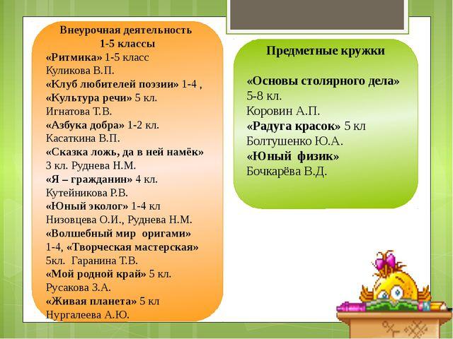 Внеурочная деятельность 1-5 классы «Ритмика» 1-5 класс Куликова В.П. «Клуб л...