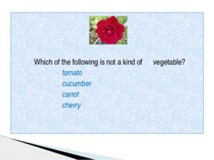 Which of the following is not a kind of vegetable? tomato cucumber carrot ch