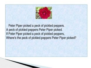 Peter Piper picked a peck of pickled peppers. A peck of pickled peppers Pete