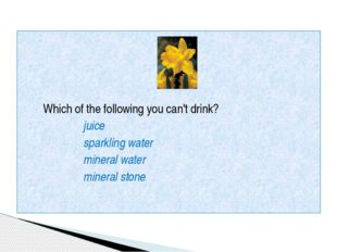 Which of the following you can't drink? juice sparkling water mineral water