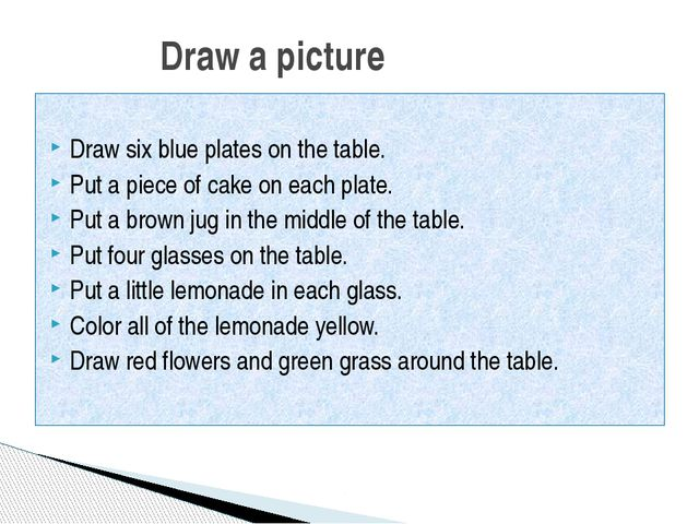 Draw six blue plates on the table. Put a piece of cake on each plate. Put a...