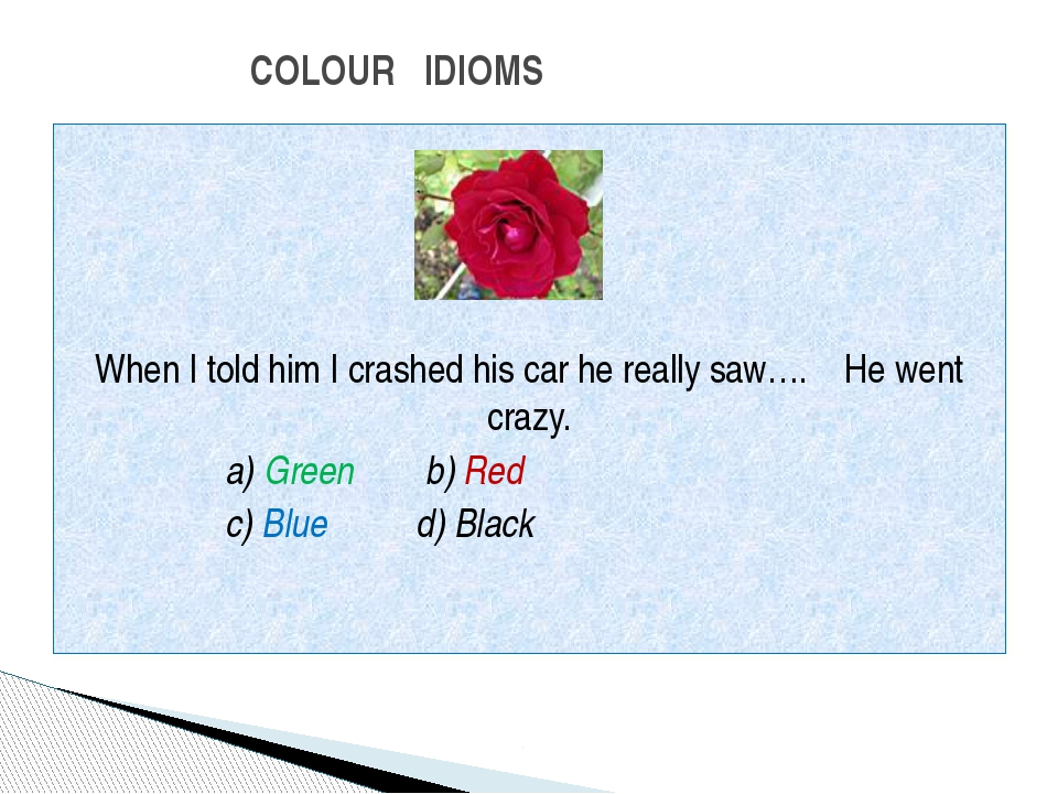 When I told him I crashed his car he really saw…. He went crazy. a) Green b)...