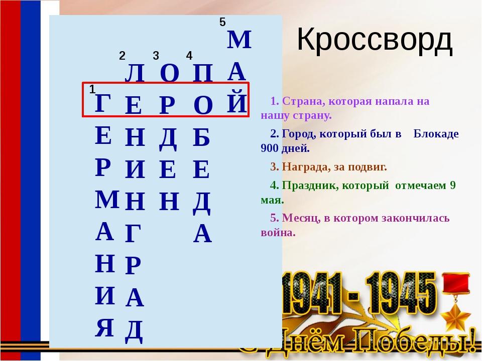 Кроссворд ГЕРМАНИЯ ЛЕНИНГРАД ОРДЕН ПОБЕДА МАЙ 1. Страна, которая напала на на...