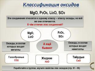MgO, P2O5, Li2O, SO3 Эти соединения относятся к одному классу – классу оксиды