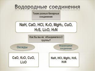 Такие разные бинарные соединения NaH, CaO, HCl, K2O, MgH2, CuO, H2S, Li2O, H3