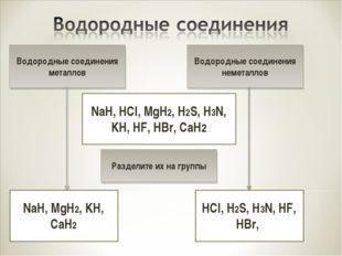 Водородные соединения металлов NaH, MgH2, KH, CaH2 NaH, HCl, MgH2, H2S, H3N,