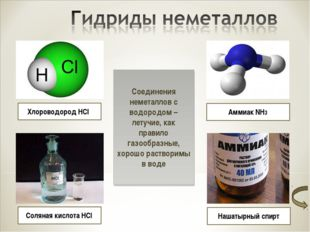 Хлороводород HCl Соляная кислота HCl Аммиак NH3 Нашатырный спирт Соединения н