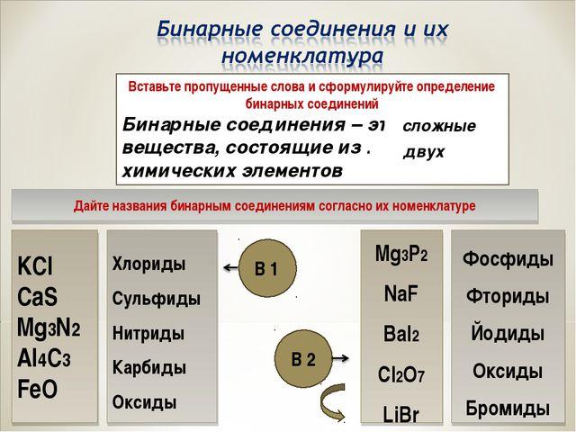Вставьте пропущенные слова и сформулируйте определение бинарных соединений Би...
