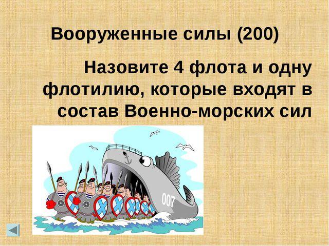 Назовите 4 флота и одну флотилию, которые входят в состав Военно-морских сил...