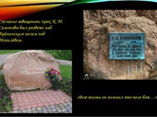 Согласно завещанию, прах К. М. Симонова был развеян над Буйничским полем под