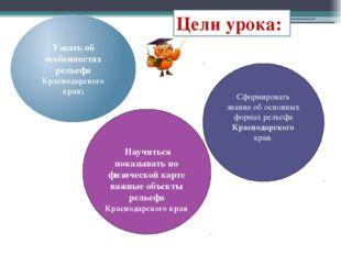 Цели урока: Узнать об особенностях рельефа Краснодарского края; Сформировать