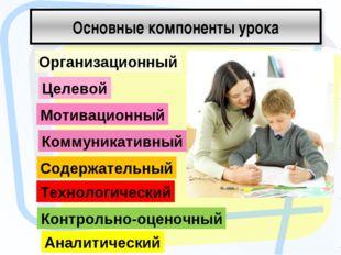 Основные компоненты урока Организационный Целевой Мотивационный Коммуникативн