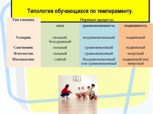 Типология обучающихся по темпераменту. Тип ученикаНервные процессы силаур