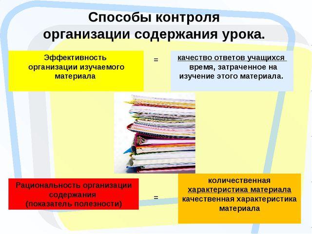 Способы контроля организации содержания урока. Эффективность организации изуч...