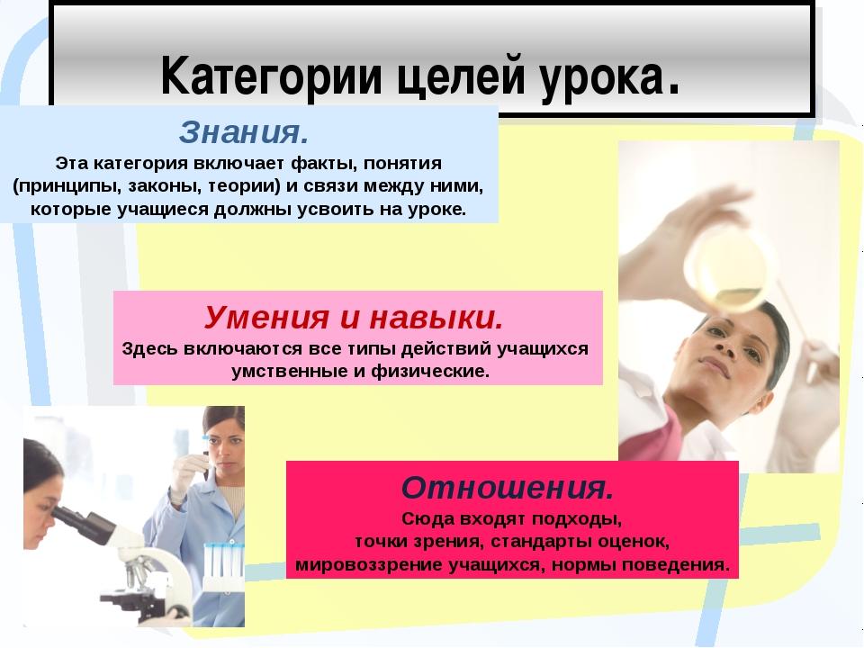 Категории целей урока. Знания. Эта категория включает факты, понятия (принцип...