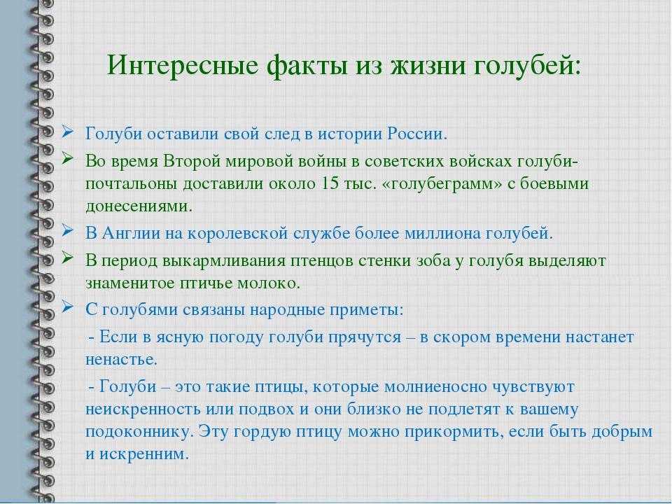 Интересные факты из жизни голубей: Голуби оставили свой след в истории России...