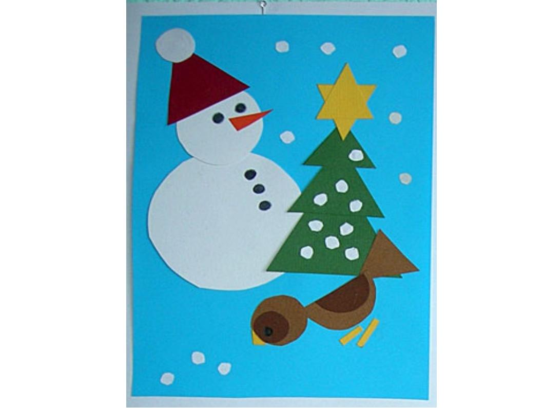 Новогодняя открытка, новогодняя открытка аппликации для начальной школы 2 класс