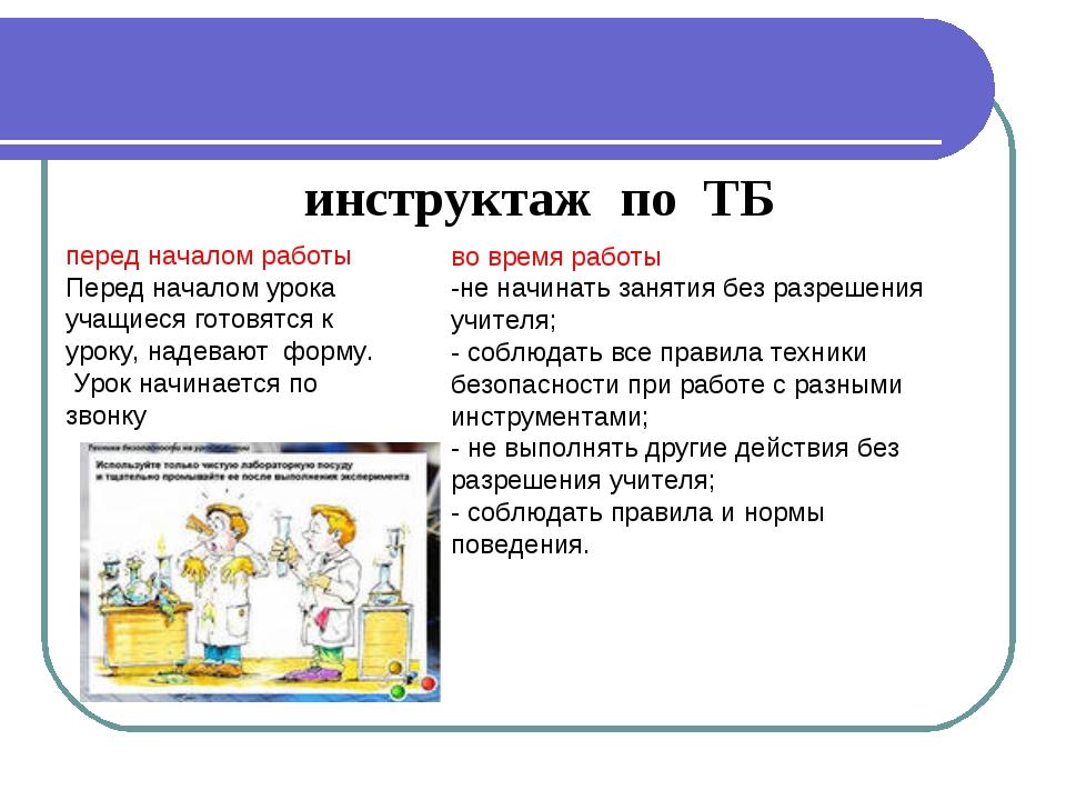 инструктаж по ТБ во время работы -не начинать занятия без разрешения учителя;...
