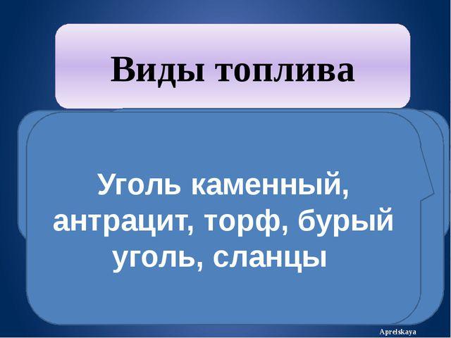 Aprelskaya Виды топлива газообразное жидкое твёрдое Природный газ Мазут, дизе...