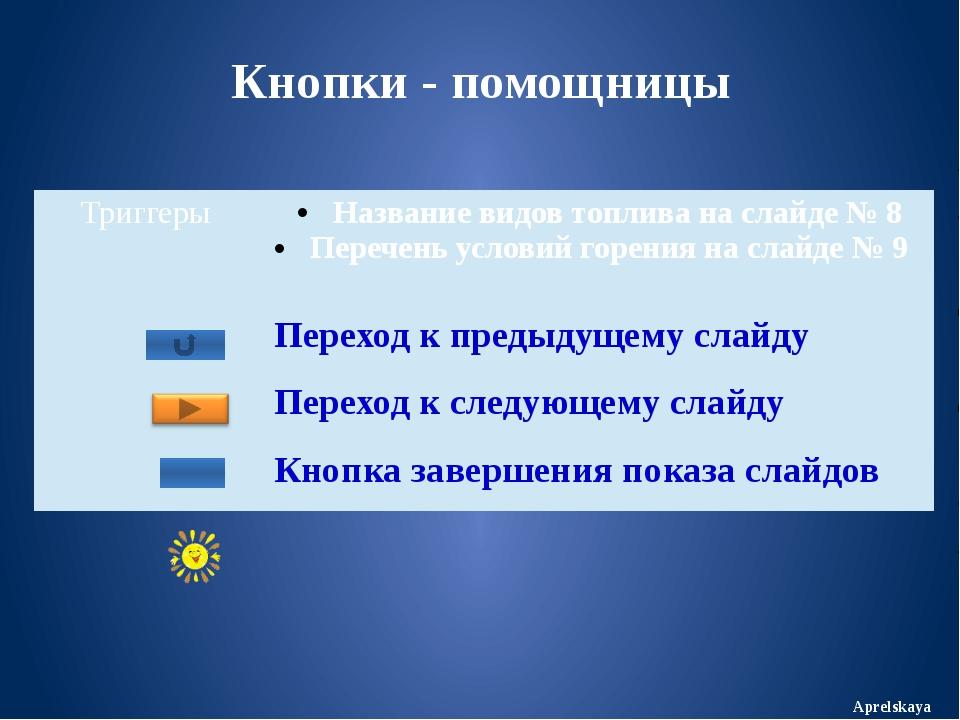 Кнопки - помощницы Aprelskaya Триггеры Название видов топлива на слайде № 8 П...