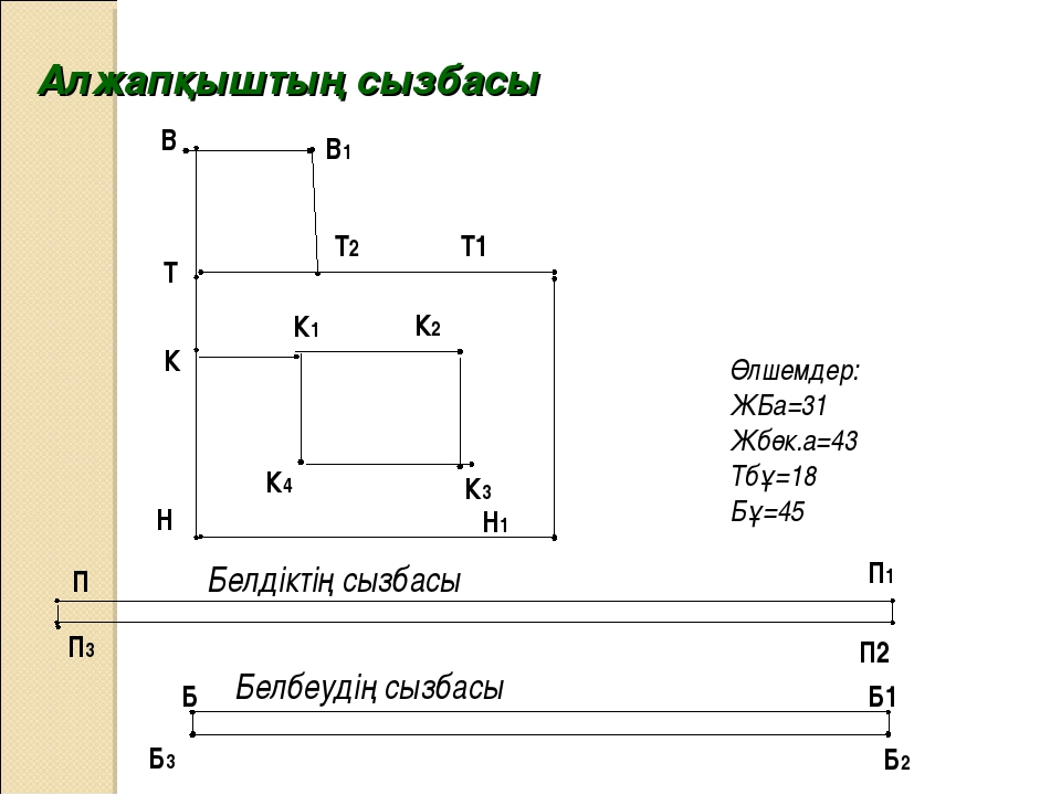 Алжапқыштың сызбасы Өлшемдер: ЖБа=31 Жбөк.а=43 Тбұ=18 Бұ=45 Н Н1 Т2 В В1 К К1...