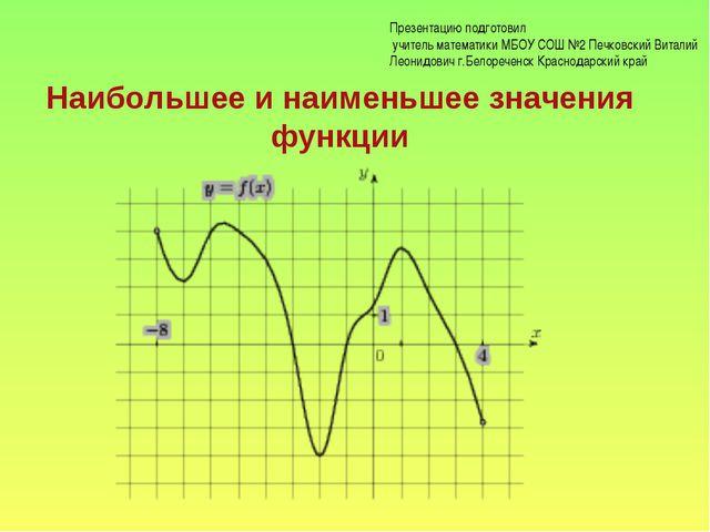Наибольшее и наименьшее значения функции Презентацию подготовил учитель матем...